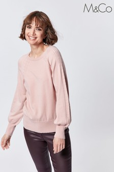 M&Co Pink Fine Knit Cable Jumper