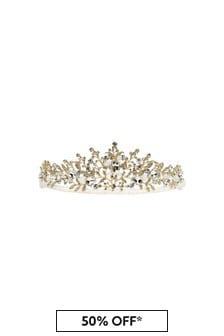 Girls Gold/Ivory Diamanté Tiara Headband