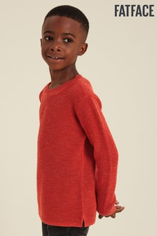 FatFace Red Plain Waffle Knit Crew Jumper