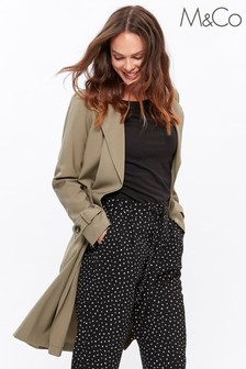 M&Co Green Soft Drape Trench Coat