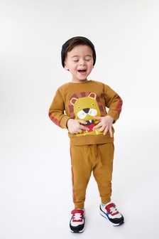 Appliqué Lion Crew And Joggers Set (3mths-7yrs)
