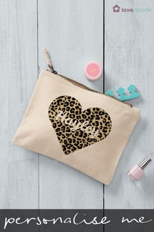 Personalised Animal Print Heart Cosmetic Bag by Loveabode
