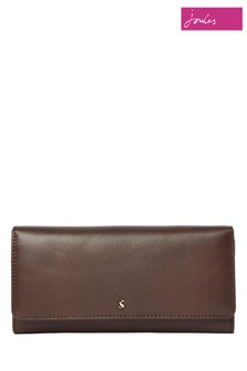 Joules Brown Tally Leather Envelope Purse