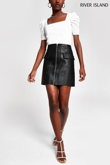 River Island Black PU Biker Skirt