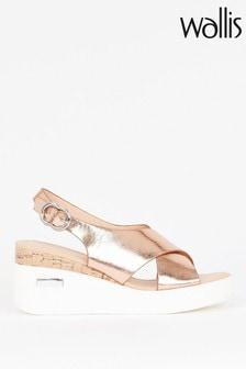 Wallis Sundial Gold Cross Strap Eva Wedge Sandals