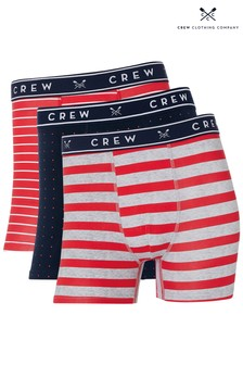 Crew Clothing Company Red Mixed Boxers Three Pack