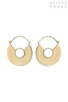 Oliver Bonas Gold Tone Hamilton Geo Curve Brass Hoop Earrings