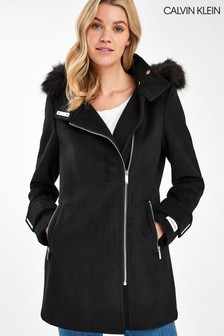 Calvin Klein Black Zip Wool Coat