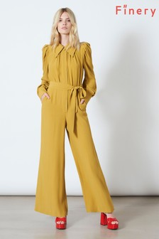 Finery London Yellow Richmond Long Sleeve Jumpsuit