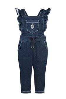 Baby Girls Blue Denim Fleece Jumpsuit