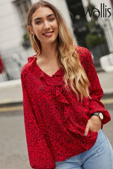 Wallis Red Animal Print Ruffle Blouse