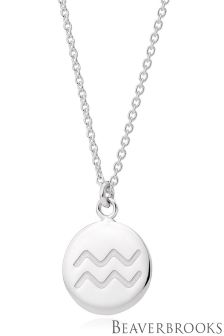 Beaverbrooks Silver Aquarius Disc Necklace