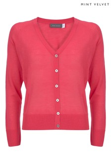 Mint Velvet Neon Pink Button Front Cardigan