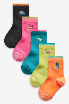 5 Pack Cotton Rich Dino Embroidered Socks (Younger)
