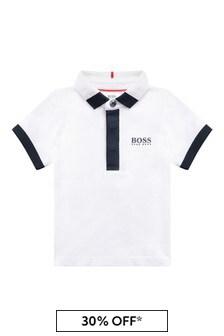Baby Boys White Cotton Poloshirt