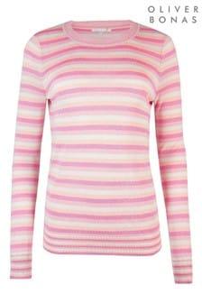 Oliver Bonas Pink Sparkle Striped Jumper