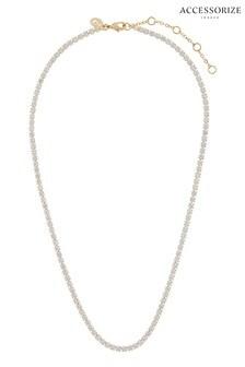 Accessorize Clear Z Sparkle Tennis Necklace
