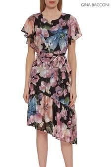 Gina Bacconi Pink Charlene Chiffon Belted Dress
