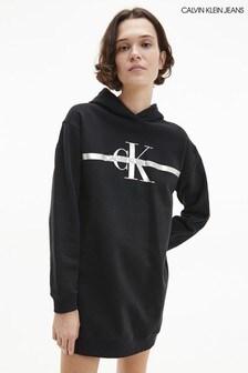 Calvin Klein Jeans Black Gold Monogram Hoodie Dress