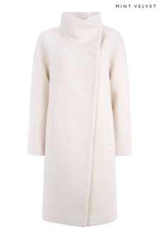 Mint Velvet Cream Bouclé Funnel Neck Coat