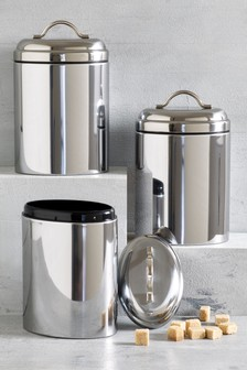 Oval Stainless Steel Set of 3 Storage Tins
