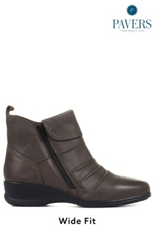 Pavers Grey Ladies Dual Zip Leather Ankle Boots