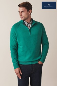 Crew Clothing Green Merino Cashmere 1/2 Zip Jumper