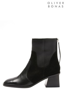Oliver Bonas Black Square Toe Panelled Boots