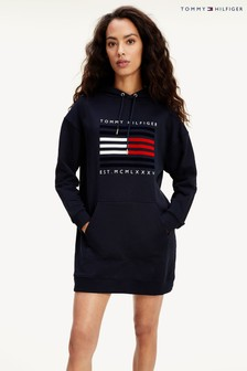 Tommy Hilfiger Blue Flag Lines Hoody Dress