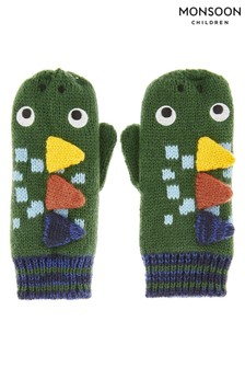 Monsoon Green Roar Dinosaur Novelty Mittens