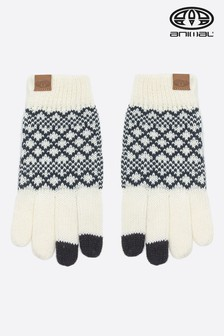 Animal Coconut Cream Pinzola Knitted Touch Screen Gloves