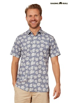 Raging Bull Blue Short Sleeve Floral Shirt