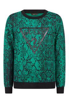 Girls Green Snake Print Cotton Sweater
