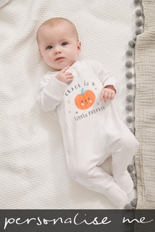 Personalised Little Pumpkin Halloween Sleepsuit