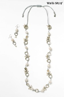 White Stuff Natural Cord Pearl Cluster Set