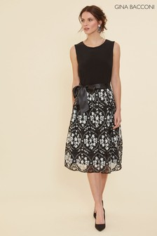 Gina Bacconi Black Karcey Jersey And Embroidered Dress