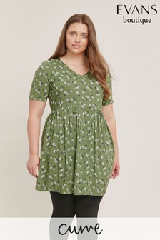 Evans Curve Khaki Floral Print Tunic