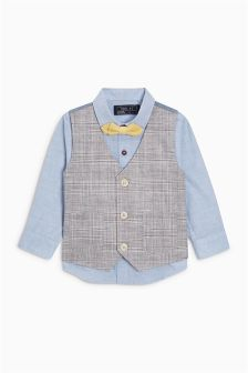 Check Waistcoat, Shirt And Bow Tie Set (3mths-6yrs)