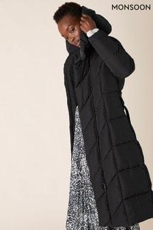Monsoon Black Bettina Sustainable Belted Padded Coat