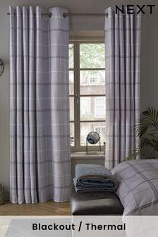 Grey Versatile Check Blackout Eyelet Curtains