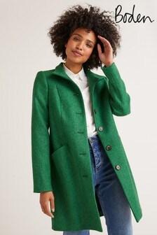 Boden Green Hengrave Tweed Coat
