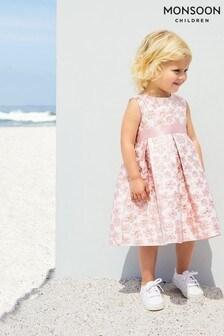 Monsoon Pink Baby Daisy Jacquard Dress