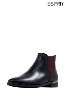 Esprit Black Elche Booties Faux Leather With Metallic Inlay On The Heel