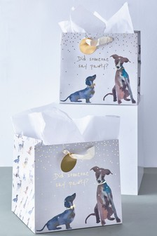 Set of 2 Dog Print Gift Bags
