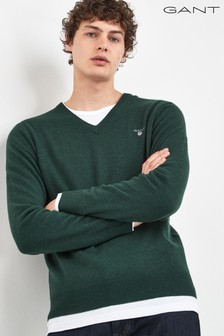 GANT Green Superfine Lambswool V-Neck