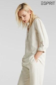 Esprit Cream Long Sleeve Linen/Cotton Mix Blouse Without Buttons