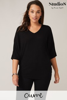 Studio 8 Black Sandy V-Neck Knit Top
