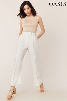 Oasis White Occasion Wide Leg Trouser