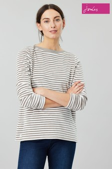 Joules Grey Esme Velour Slash Neck Jersey Top