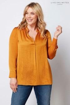 Атласная рубашка горчичного цвета с присборенной горловиной Live Unlimited